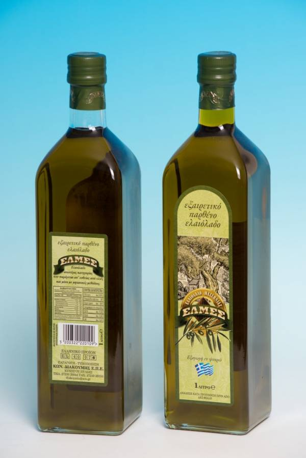 Extra virgin olive oil 1lt in glass packaging